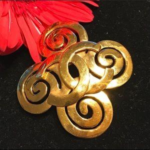 🔆 Stunning vintage CHANEL golden brooch pin RARE
